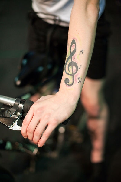 UK - Hull - A tattoo on the arm of drama student Keiron Johnson from Hull University during a rehearsal for an upcoming production of Cycle Song in the Gulbenkian Theatre