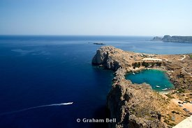 St Pauls Bay from the Acopolis, Lindos, Rhodes, Greece.
