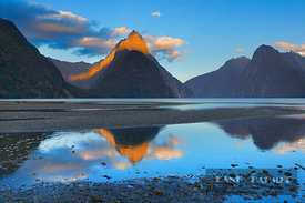 Fjord landscape at Mitre Peak - Oceania, New Zealand, South Island, Southland, Fiordland, Milford Sound (Polynesia, Southern Alps, Fiordland National Park) - digital