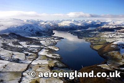 aerial photograph of Ullswater in the Lake District Cumbria England UK