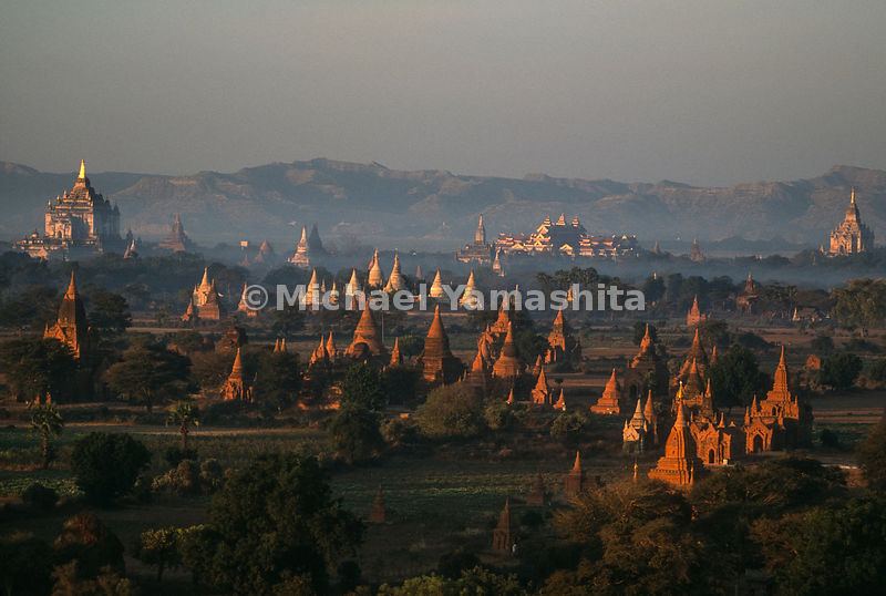 Views of the 2,231 temples from a balloon..Bagan, Myanmar
