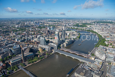 Aerial view of London River Thames and Blackfriars Bridges