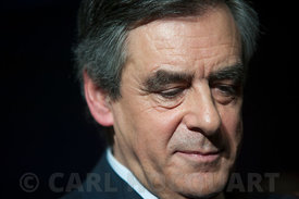 Francois Fillon juste after the end of the meeting at Charleville-Mézières, France, on February 2, 2017.
