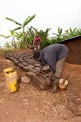 Making bricks from mud. Rwanda