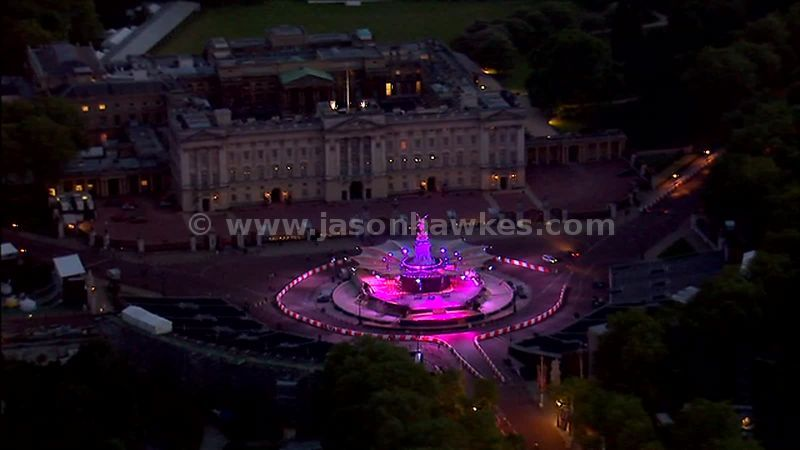 Aerial footage of stage at the front of Buckingham Palace, London, England, Uk