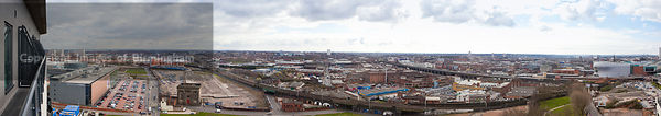 View from the top of the Hive building, Eastside, Birmingham, West Midlands, England, UK. Showing Eastside and Digbeth.