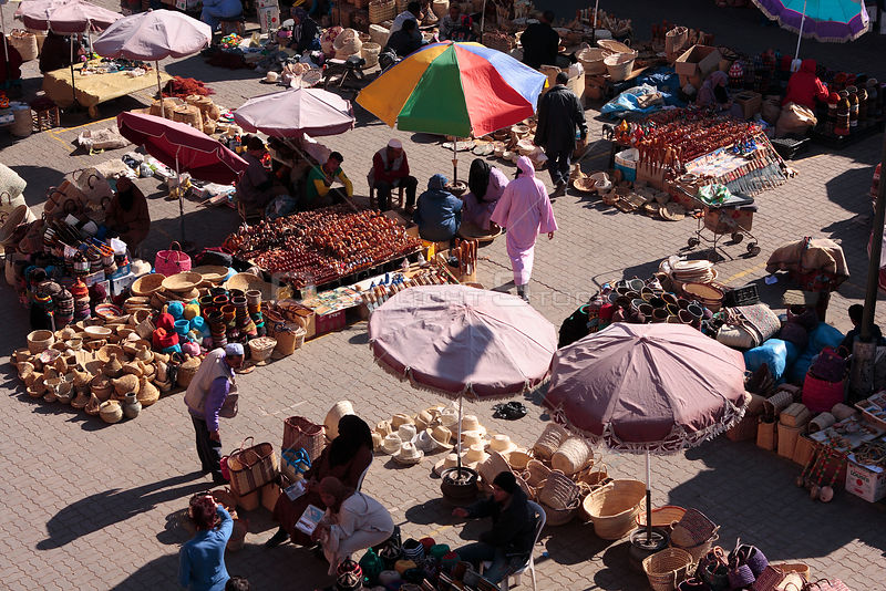 Looking down on craft market stalls in Rahba Qedima square, Marrakech, Morocco December 2007