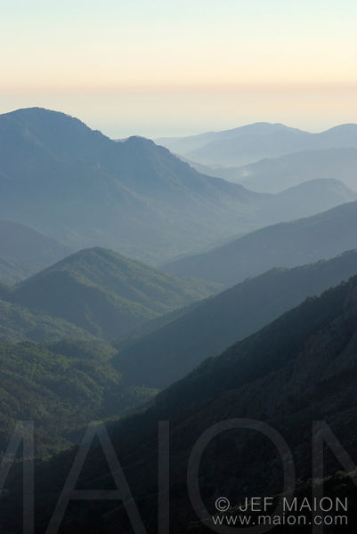 Valley and ridges at sunset