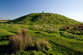 Tumulus on the top of the Garth Mountain above Taffs Well, South Wales Valleys, Wales, UK.