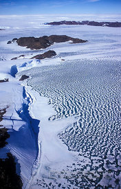 Aerial View of Ice-Cliffs and Islands