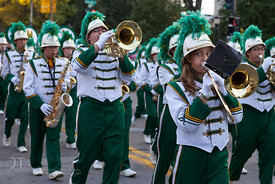 The West High Marching Band passes by on Clinton St during the  University of Iowa homecoming Parade in Iowa City on Friday September 28, 2012. (Justin Torner/Freelance)