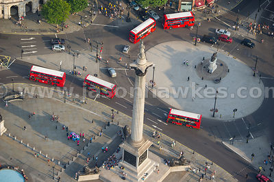Aerial view of Nelson's Column and Charles I Statue, London