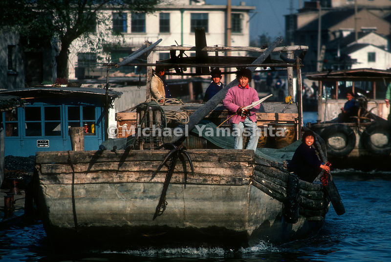 A close up of boats on the Grand Canal. China