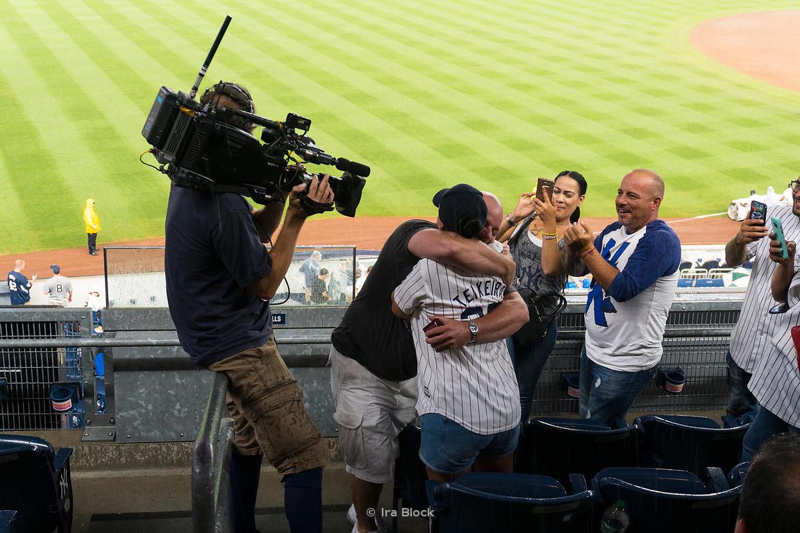 A surprise engagement on TV at  Yankee Stadium in Bronx, NYC