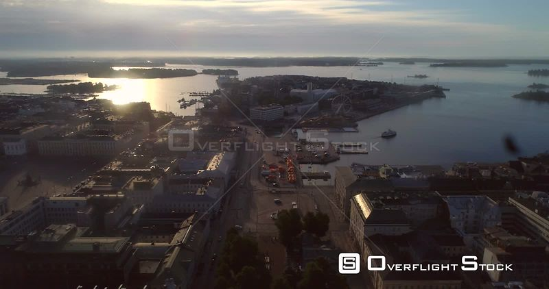 Helsinki City, Aerial View of Kauppatori Market Square, the South Harbour and Katajanokka Bay, on a Sunny Summer Morning Dawn, in Helsingfors, Uusimaa, Finland