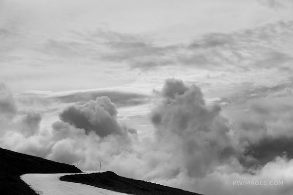STORMY CLOUDS MOUNT EVANS ROAD SCENIC BYWAY COLORADO ROCKIES BLACK AND WHITE