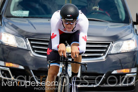 19-year-old Sean Mackinnon finishing his bronze-mdeal ride at the Individual Time Trial, Toronto 2015 Pan Am Games, Milton, On; July 22, 2015