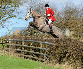 Andrew Osborne jumping a hedge above Wilson's Covert