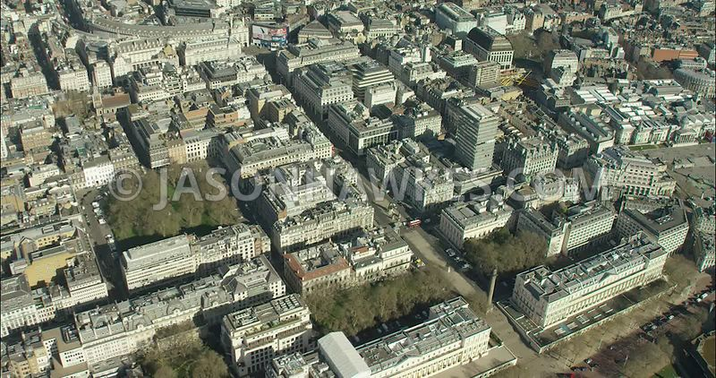 London Aerial Footage of St James's Square and Pall Mall.