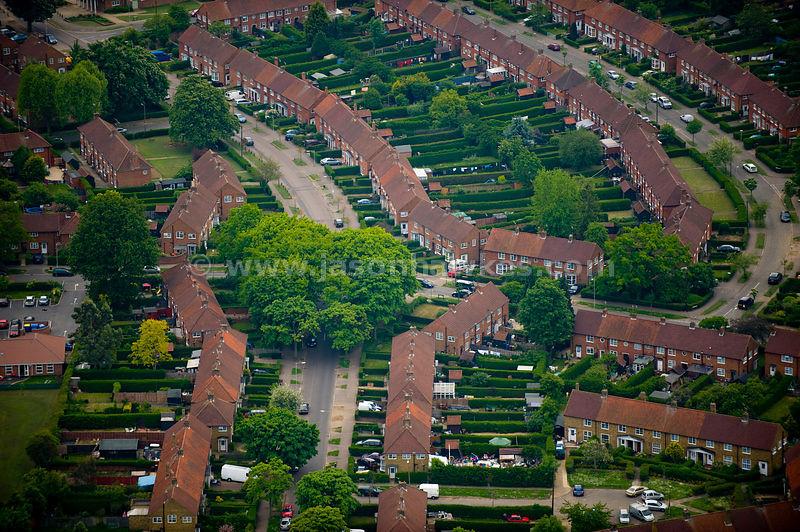 Landscape Welwyn Garden City : Aerial view houses welwyn garden city hertfordshire