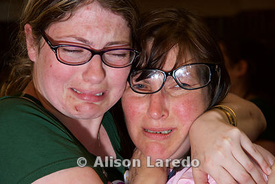 Sisters Sarah Mortimer and Louse Munster at the referendum count centre in Mayo when the 57% Yes vote was announced. PHOTO: ALISON LAREDO