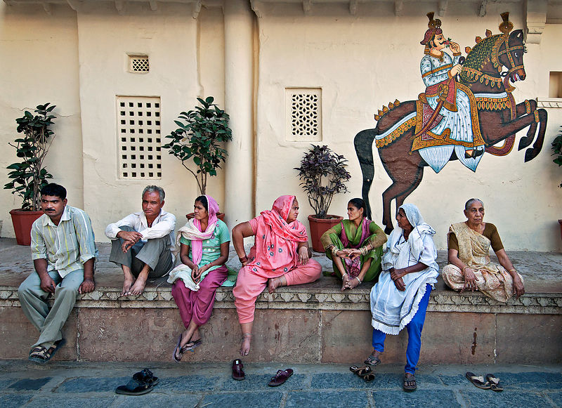An everyday scene at any Indian tourist place. This image was shot at the city palace, Udaipur