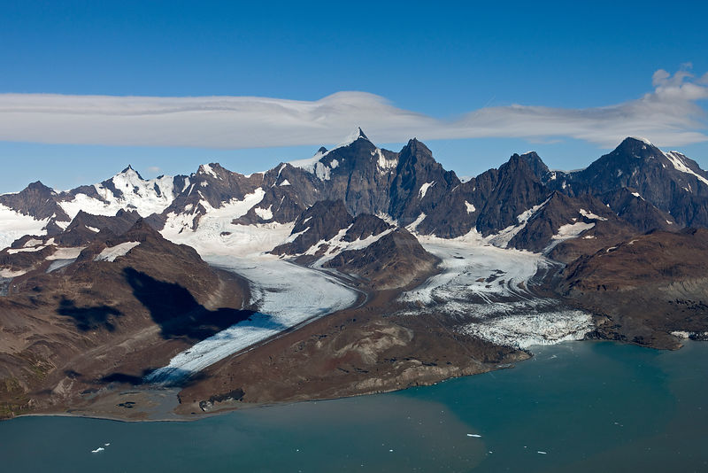 Aerial view of Lyell Glacier (left) and Geikie Glacier, Cumberland West Bay, South Georgia Island, March 2011