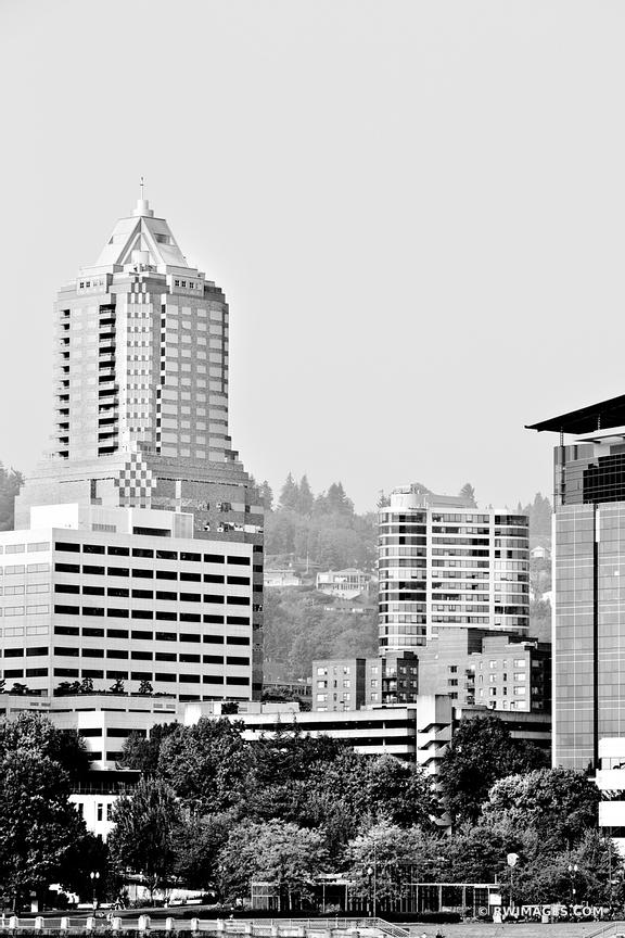 DOWNTOWN PORTLAND OREGON BLACK AND WHITE VERTICAL