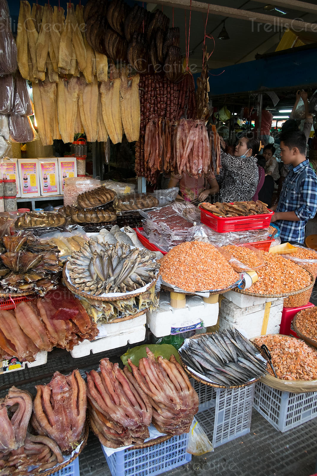 Dried fish and seafood for sale at an open air market