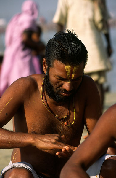 A saddhu at the Ardh Kumbh Mela 1995, Allahbad, India