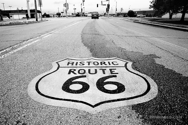 ROUTE 66 LITCHFIELD ILLINOIS BLACK AND WHITE