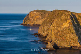 Sailboat Moored along Anacapa Island in Channel Islands National Park