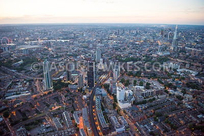 Aerial view of London, The Shard from Walworth at night.
