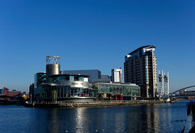 Manchester Ship Canal and Salford Quays, Salford, Manchester, UK.