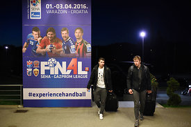 Alex DUJSHEBAEV, Daniil SHISHKAREV of Vardar during the Final Tournament - Final Four - SEHA - Gazprom league, team arrival in Varazdin, Croatia, 30.03.2016, ..Mandatory Credit ©SEHA/Nebojša Tejić