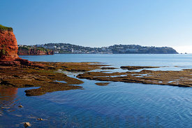 Preston Sands, Paignton with Torquay in the distance, Tor Bay, Devon, England