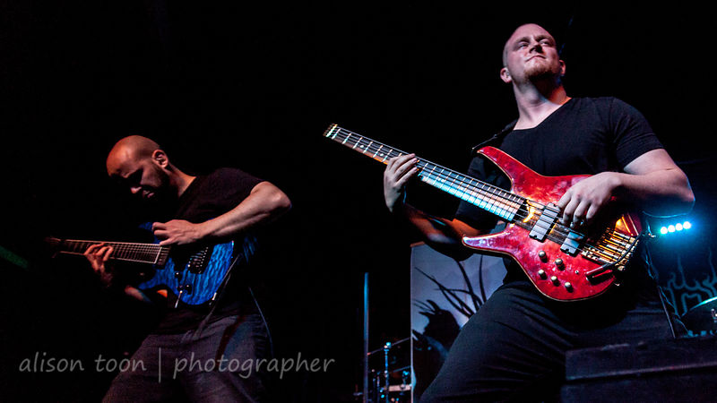 "Benjamin Baret, guitar, and Brendan ""Cygnus"" Brown, bass,  Ne Obliviscaris"