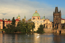Aleš Embankment with the Monastery of the Knights of the Cross with a Red Star and Old Town Bridge Tower, Prague, Czech Republic
