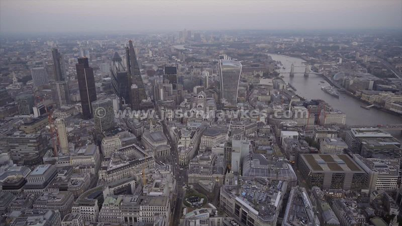 Aerial footage of the skyscrapers of the City of London and Bank