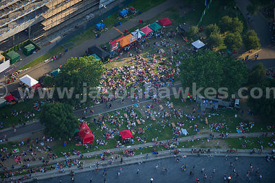 Aerial view of people sitting in Potters Fields Park, London