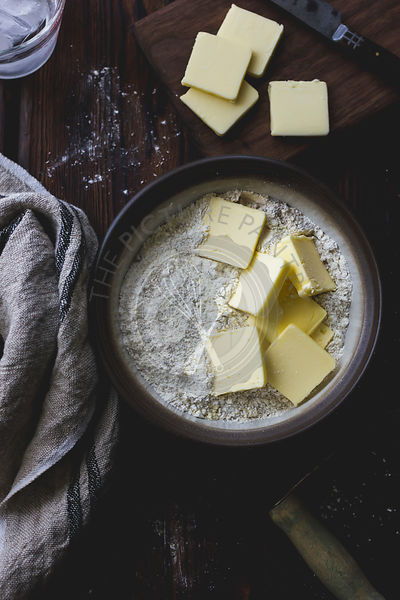 Butter and flour in a mixing bowl