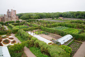 View from corner tower of walled garden and castle