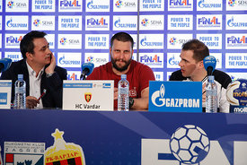 Stojance Stoilov and Raul Gonzales at the opening press conference during the Final Tournament - Final Four - SEHA - Gazprom league, Skopje, 12.04.2018, Mandatory Credit ©SEHA/ Uros Hocevar