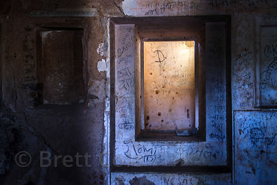 Graffiti on a doorway in ruinous Rajgarh fort, Rajgarh village, Rajasthan, India