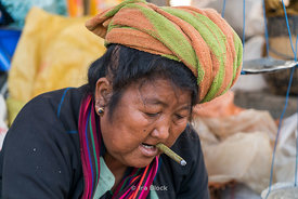 Portrait of a local woman at a market on Inle Lake, Shan State, Myanmar.