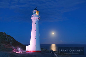 Lighthouse and full moon - Oceania, New Zealand, North Island, Wellington, Masterton, Castlepoint (Polynesia) - digital