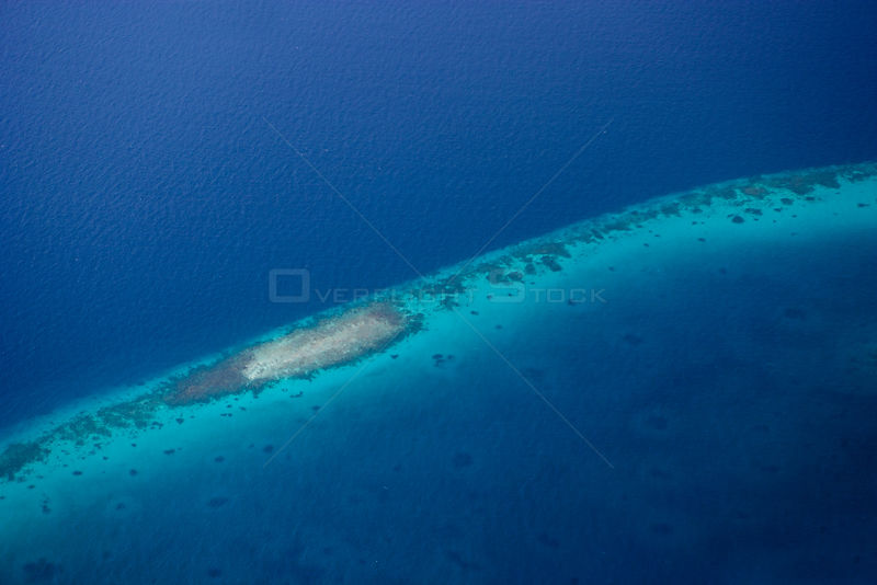 Atoll in the Maldives as seen from the window of a Trans Maldivian hydroplane (seaplane).