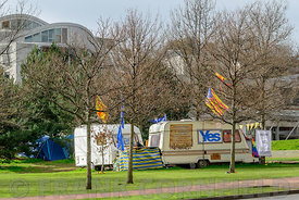 EDINBURGH, SCOTLAND, UK - 28 MARCH 2016: Holyrood independence protest camp in Holyrood Park outside the Scottish Parliament building.  Pro independence activists have established the 'IndyCamp'.