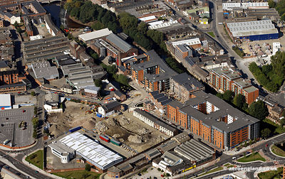 aerial photograph of Kelham Island Sheffield and the Kelham Riverside Devolpment
