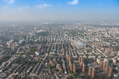 Aerial view of Chelsea and Westminster Hospital and Fulham Road, Chelsea.